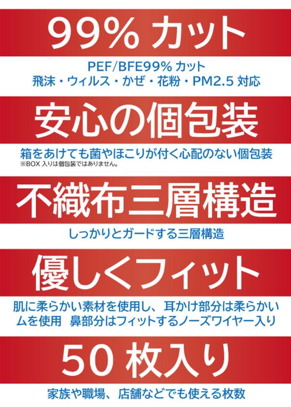 TSJ快適マスク 個包装50枚入り(レギュラー)